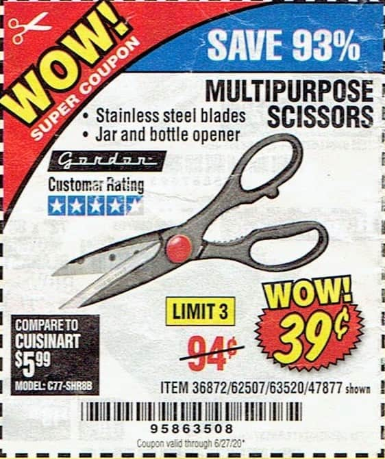 Harbor Freight : GORDON Multipurpose Scissors $0.39