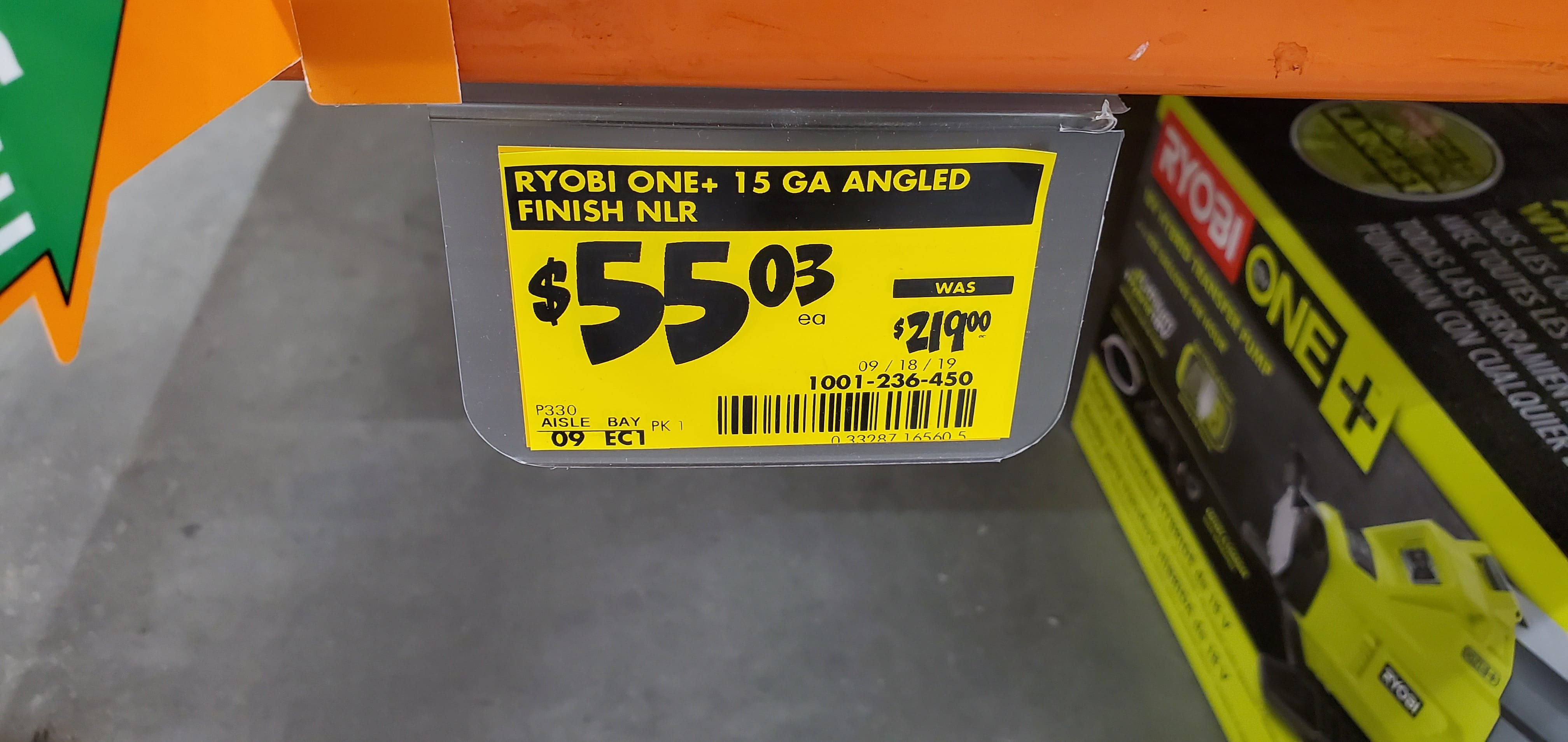 Ryobi 18v One+ Angled Finish Nailer 15 gauge P330 $55 New @ Home Depot YMMV B&M