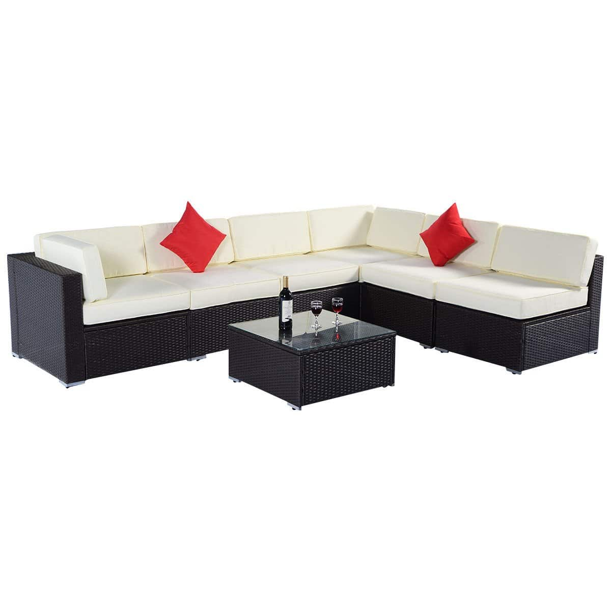 COSTWAY 7PC SECTIONAL WICKER PATIO SOFA SET - $529.99 A/C -  Free Shipping
