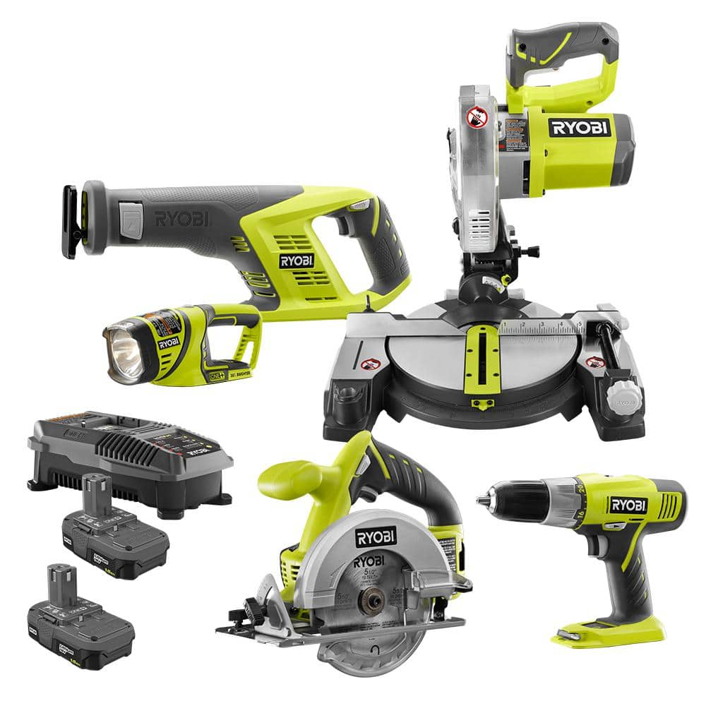 RYOBI 18-Volt ONE+ Lithium-Ion Miter Saw, Circular Saw, Reciprocating saw, Drill/Driver (2) 1.5 Ah Batteries and (1) 18-Volt Dual Chemistry Charger - Home Depot $187