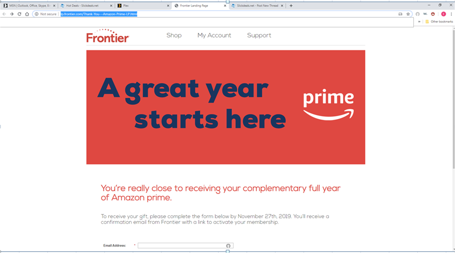 PSA - Free Amazon Prime for 1 year from Frontier - targeted email YMMV