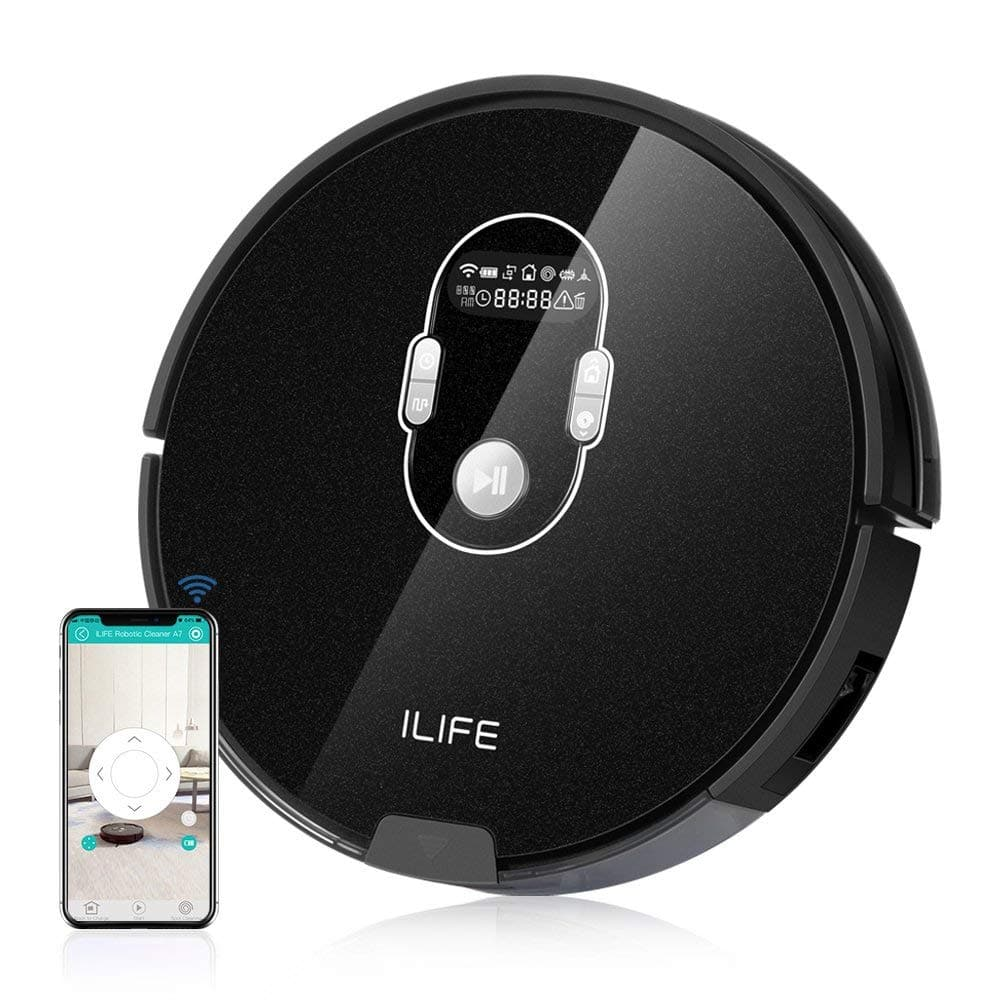ILIFE A7 Robotic Vacuum Cleaner with High Suction, LCD Display, Multi-Task Schedule, WiFi APP Control and Dual Roller Brushes for Hard Floor and Thin Carpets $163.49