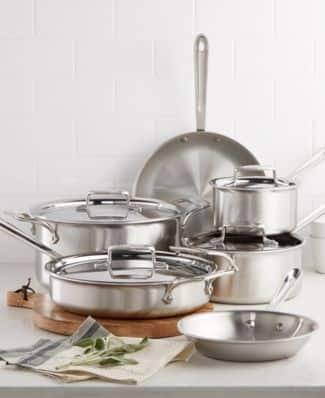 10 Piece All Clad D5 Brushed Stainless Steel Cookware 15