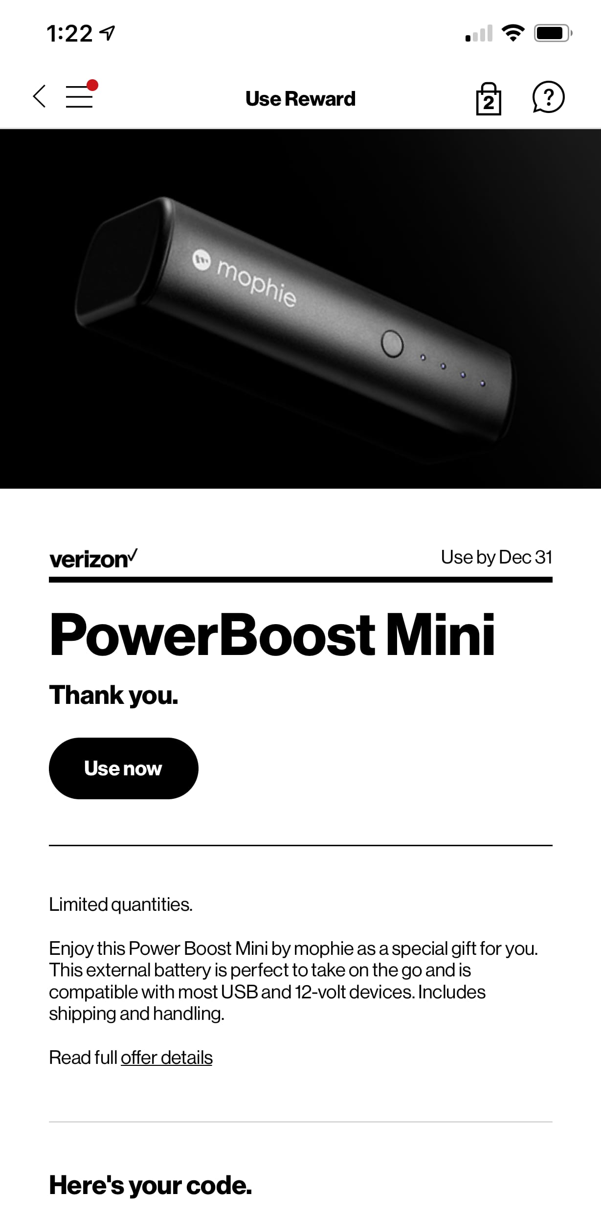 VerizonUp Rewards - Free PowerBoost Mini YMMV