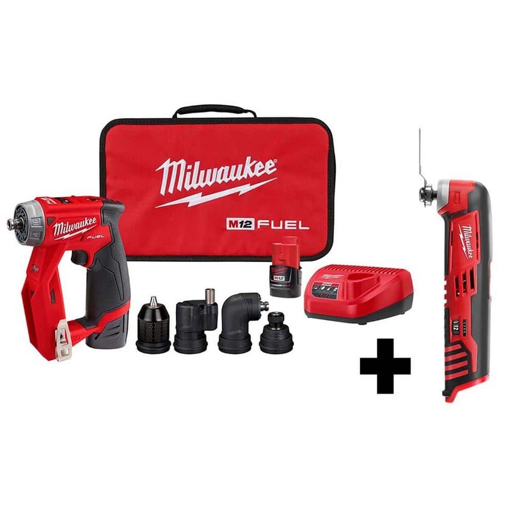 Milwaukee M12 FUEL 12-Volt Lithium-Ion Brushless Cordless 4-in-1 Installation 3/8 in. Drill Driver Kit with�  M12 Multi-Tool-2505-22-2426-20 - The Home Depot - $199