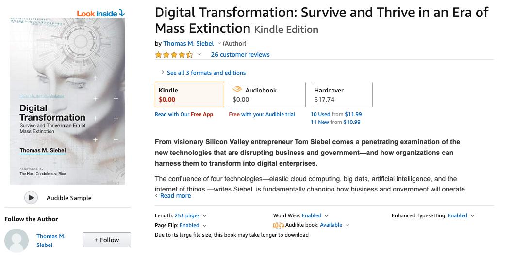 Free Kindle eBook: Digital Transformation by Tom Siebel