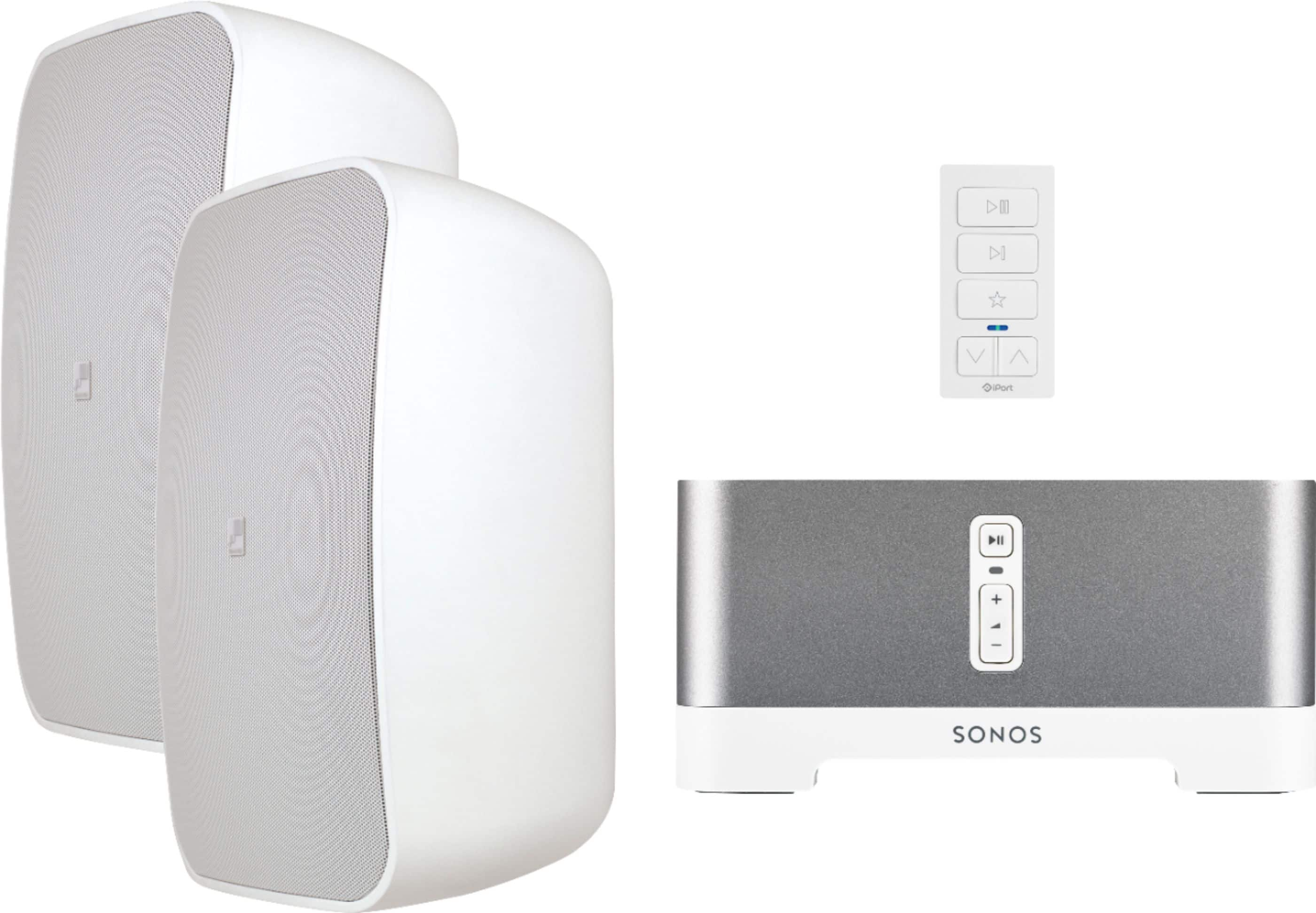 Sonos & Sonance - Outdoor Speaker Streaming Audio Bundle with xPress Audio Keypad - White/Gray $750
