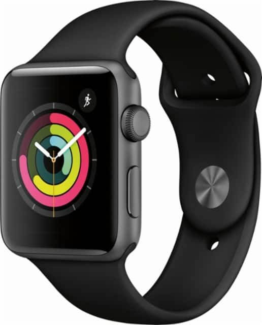 Apple - Apple Watch Series 3 (GPS), 42mm Space Gray Aluminum Case with Black Sport Band - Space Gray Aluminum $309