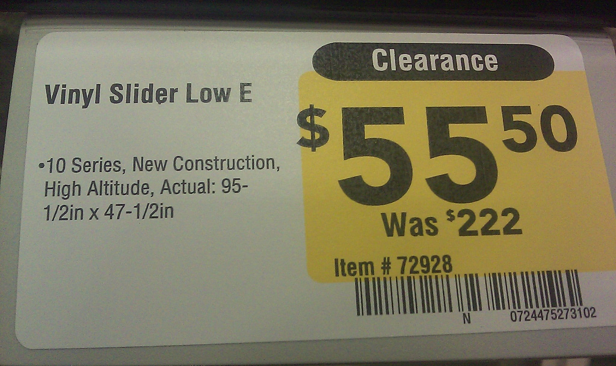 Lowe's Low E Windows 75% Clearance