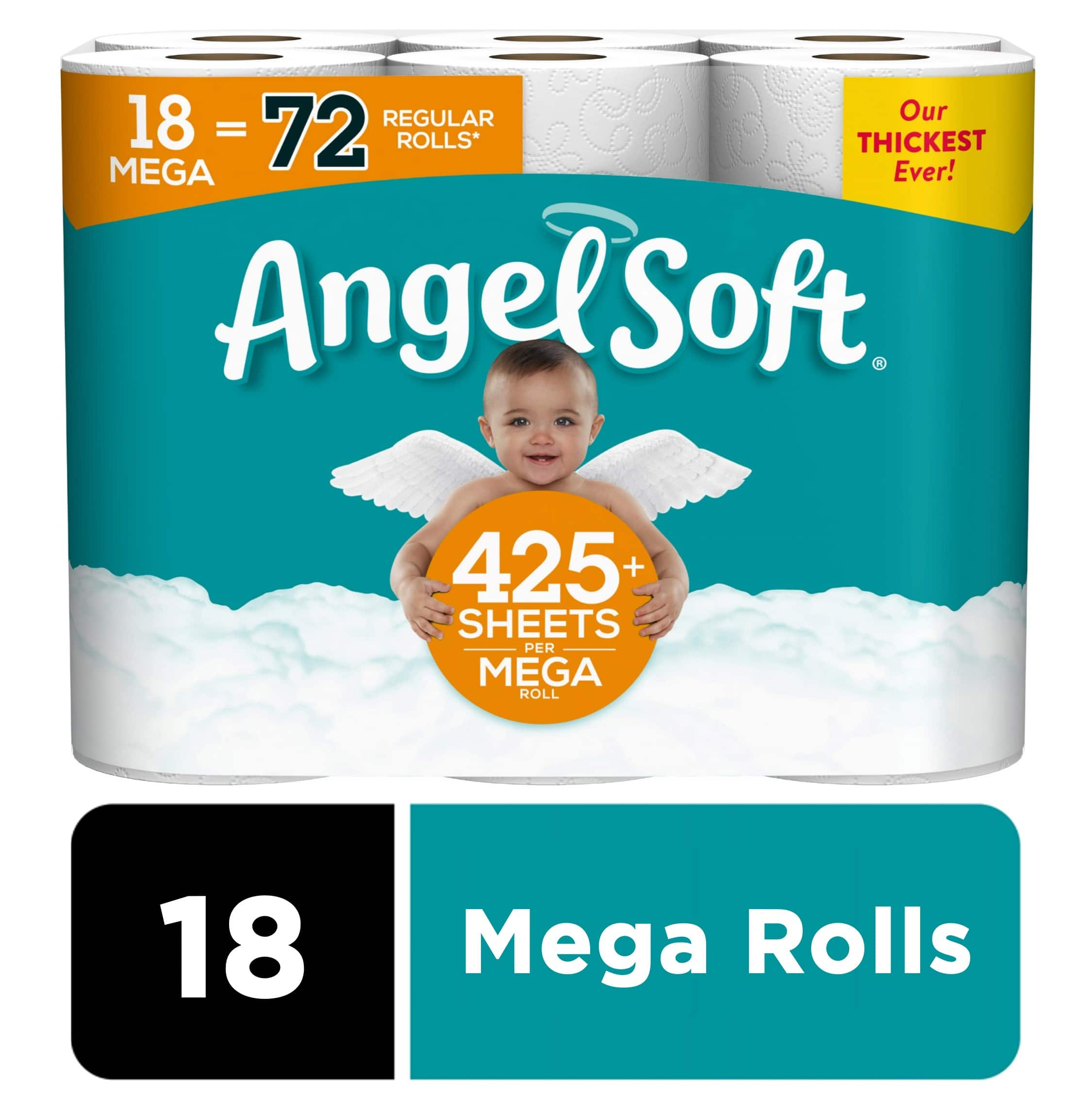 Angel Soft Toilet Paper, 18 Mega Rolls (= 72 Regular Rolls) limit 3 $14.97