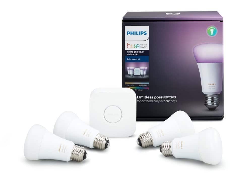 Philips Hue White and Color Ambiance A19 60W starter pack. 4 pack bulbs $160 Amazon