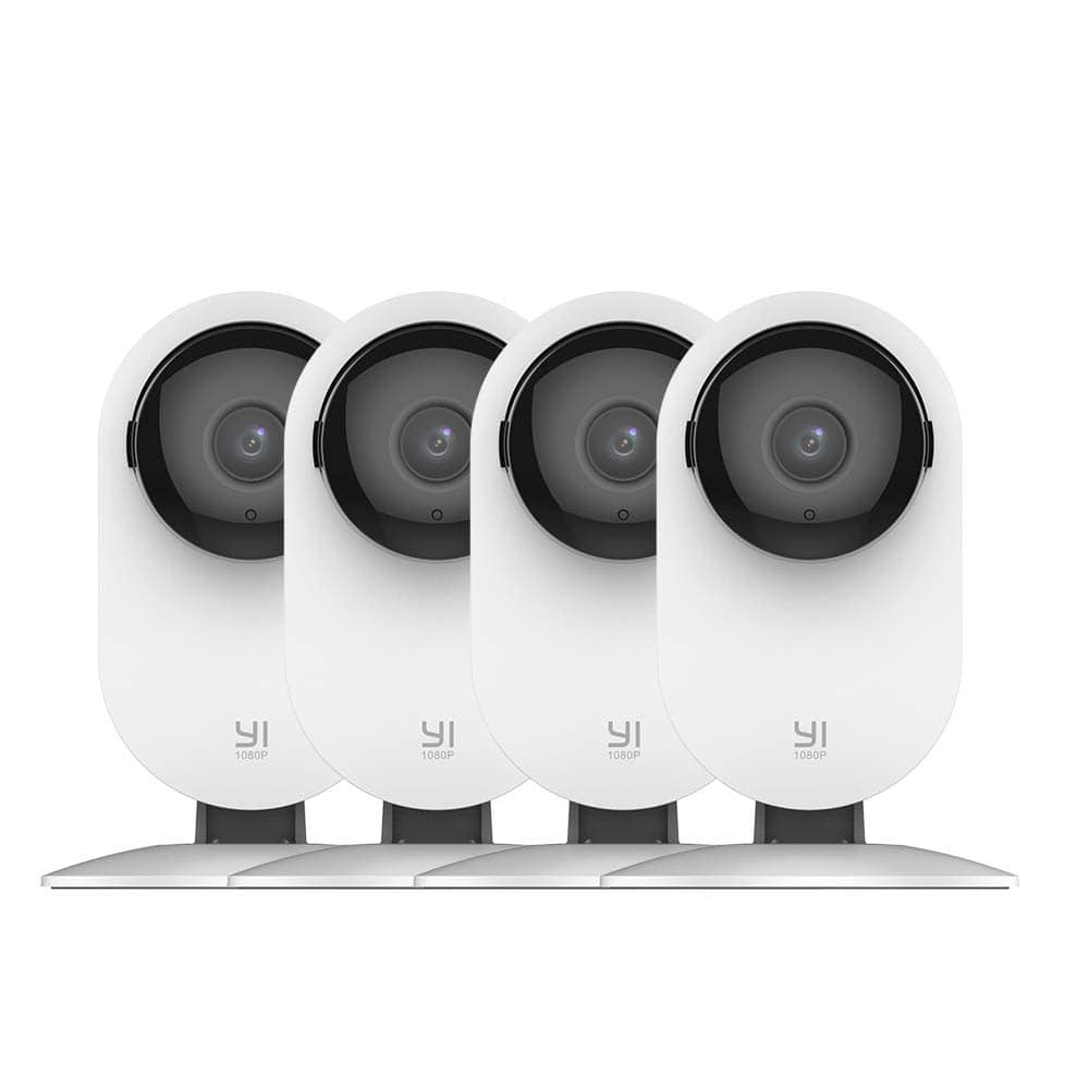 YI 4pc Home Camera, 1080p Wi-Fi IP Security Surveillance Smart System with 24/7 Emergency Response, Night Vision $89