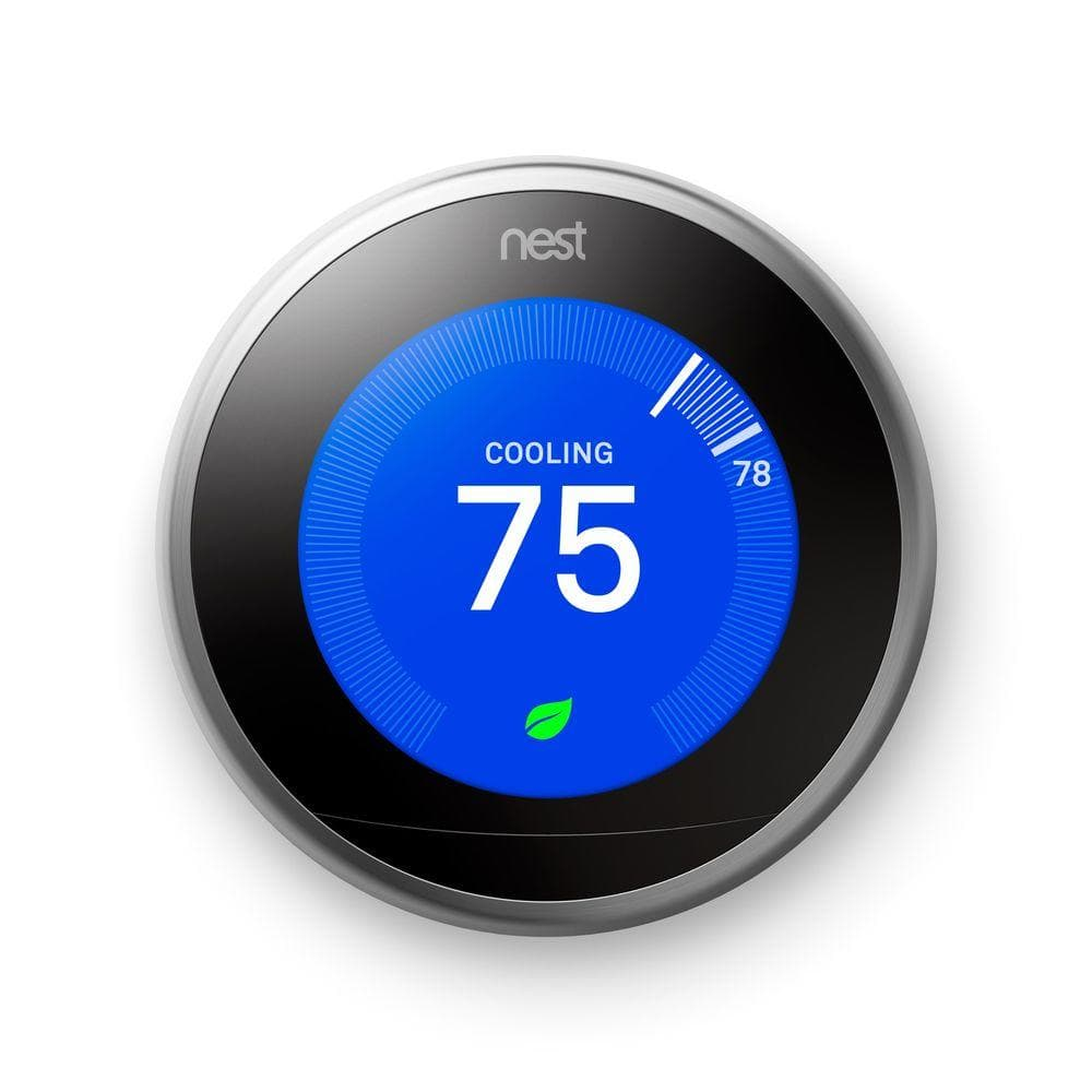 Nest Learning Thermostat 3rd Generation Smart Home with Wifi Remote Control Stainless Steel $170.24