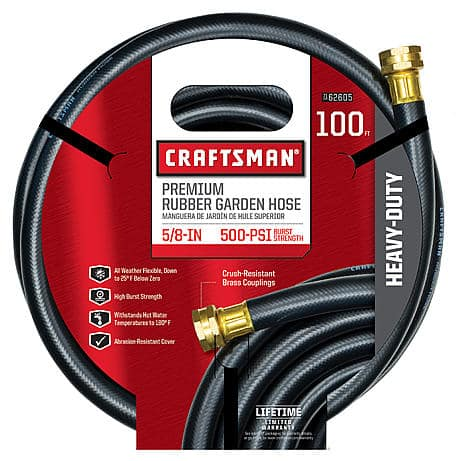 "100' Craftsman 5/8"" All-Rubber Garden Hose $35 + Free Shipping"