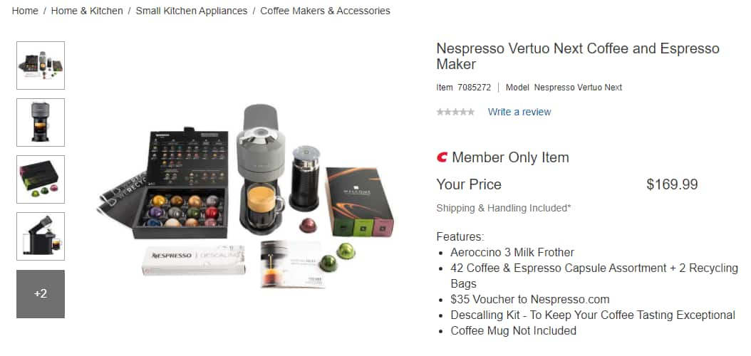 Nespresso Vertuo Next w/ Aeroccino 3 Milk Frother 42 PODS and $35 voucher @Costco $169.99