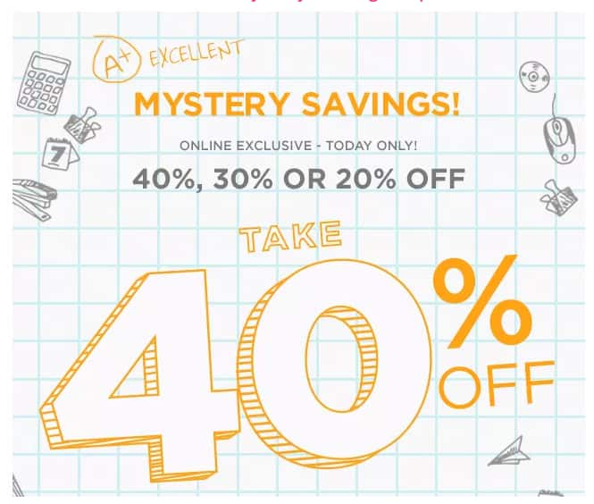 KOHLS - Mystery Savings up to 40% off emails are out today