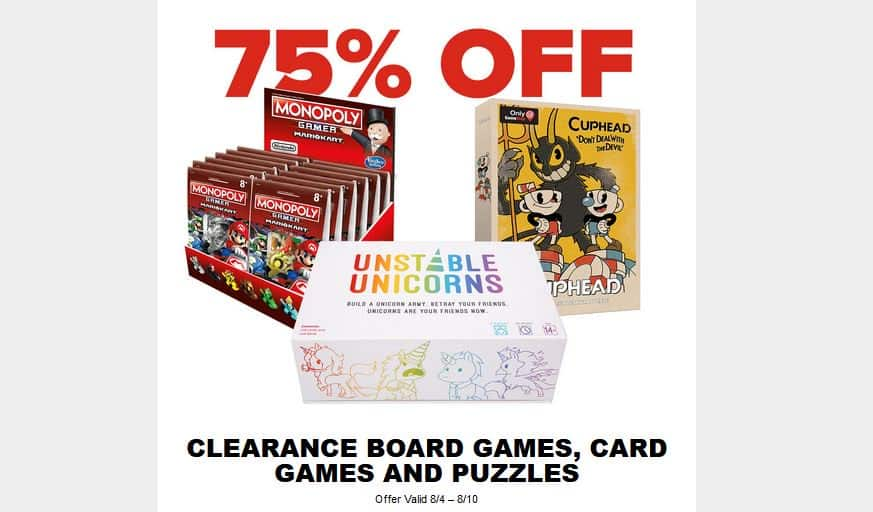 Additional 75% Off Gamestop Clearance Board Games, Card Games, and Puzzles