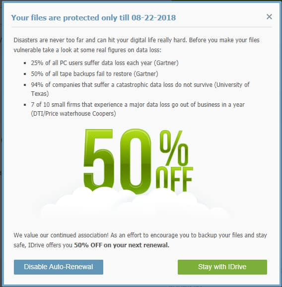 50% Off Next Renewal of iDrive Online Backup Service for Existing Customers Currently on AutoRenewal (YMMV?)