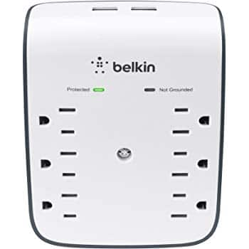 Amazon: $12 Belkin SurgePlus 6-Outlet Wall Mount Surge Protector with Dual USB Charging Ports (2.1 AMP / 10 Watt), BSV602tt, FS w/Prime or FSSS