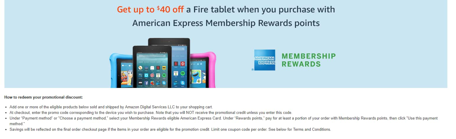 Amazon Amex Membership points - Upto $40 off on Fire tablets when you purchase with membership points YMMV