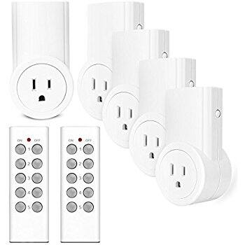 Etekcity Wireless Remote Control Electrical Outlet Switch 5 pack with 2 remote for $21.50 with coupon code CNETCODE