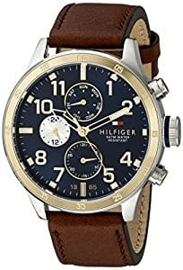 Macy's/Amazon - Tommy Hilfiger Men's 1791137 Cool Sport Two-Tone Stainless Steel Watch with Leather Band $99