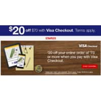 Staples Deal: Staples $20 off $70 with visa checkout
