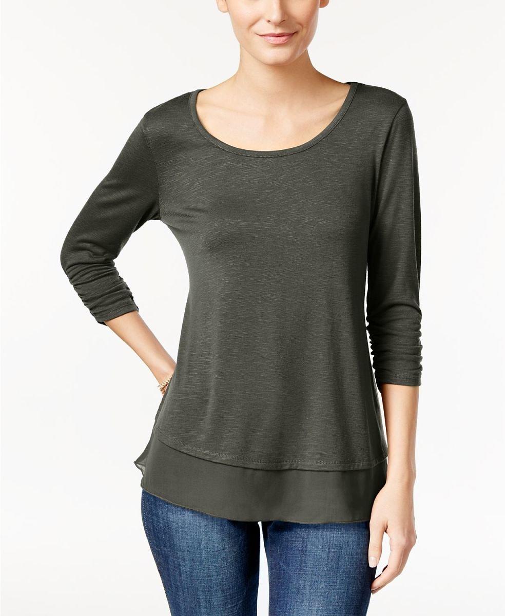 Style & Co Chiffon-Hem Top (2 Colors) | Macy's $10.23