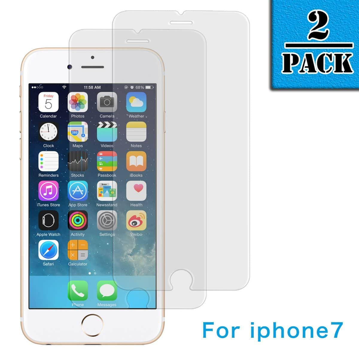 2 Pack Tempered Glass Screen Protector for iPhone 7/ iPhone 5S/ iPad 2 for $2.99 & Up FS w/ Prime