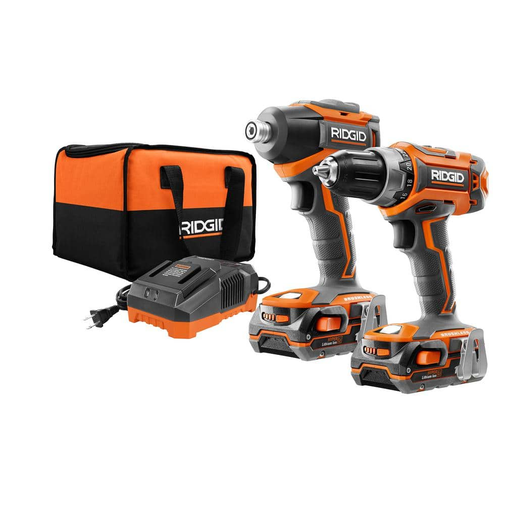 Rigid 18-Volt Lithium-Ion Cordless Brushless Drill/Driver and Impact Driver Combo Kit w(2) 1.5Ah Batteries, Charger and Bag in store $99 YMMV