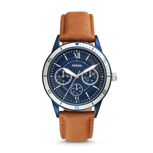 Fossil Flynn Sport Multi function Brown Leather Watch $45