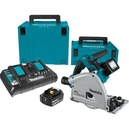Makita track saw with 6 batteries and guide rail $499
