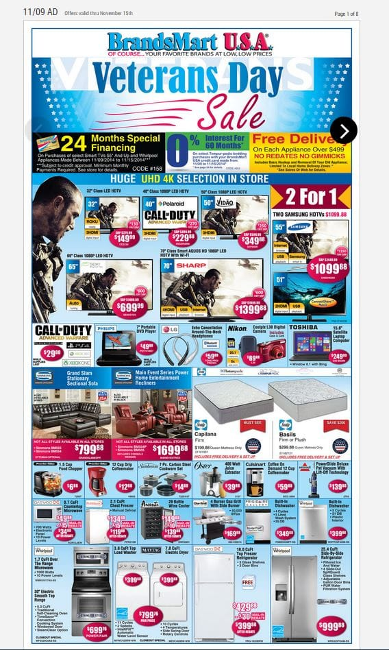 Call of Duty: Advanced Warfare (PS4, X1, PS3, X360, PC) For $29.98 at BrandsMart on 11-9/11-15; Best Buy Price Match Possibility For Bigger Discount [YMMV]