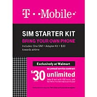 Walmart Deal: WM T-Mobile Sim starter kit w/$30 credit for $29.88