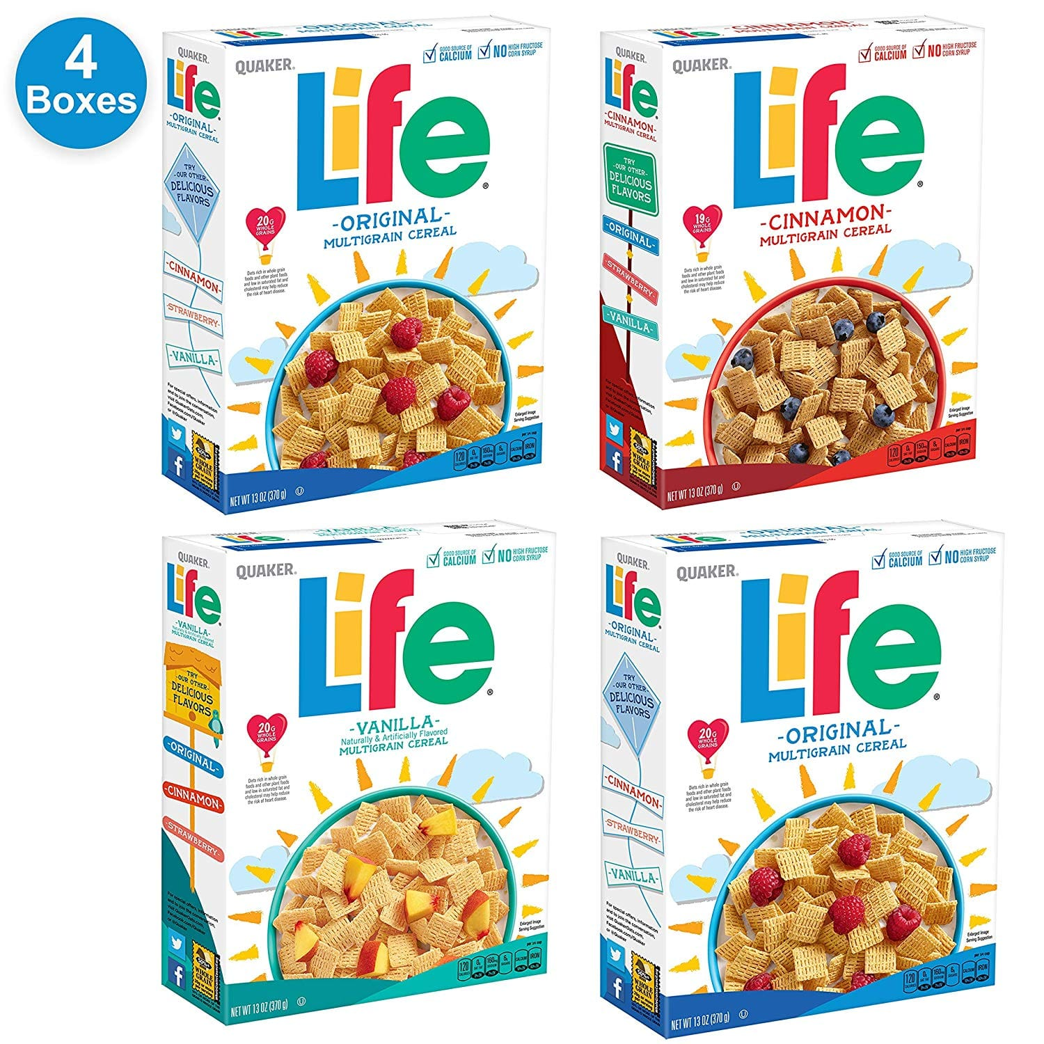 4 Pack Quaker Life Breakfast Cereal, 3 Flavor Variety for $7.95 after 20% Coupon and S&S via Amazon