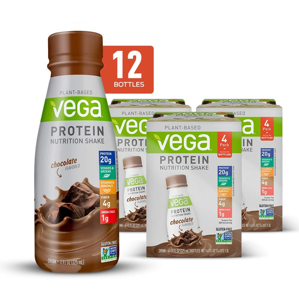 12-Pack 11 Oz. Vega Protein Nutrition Shake Chocolate - Ready to Drink, Plant Based Vegan Protein for $19.17 with Coupon and S&S