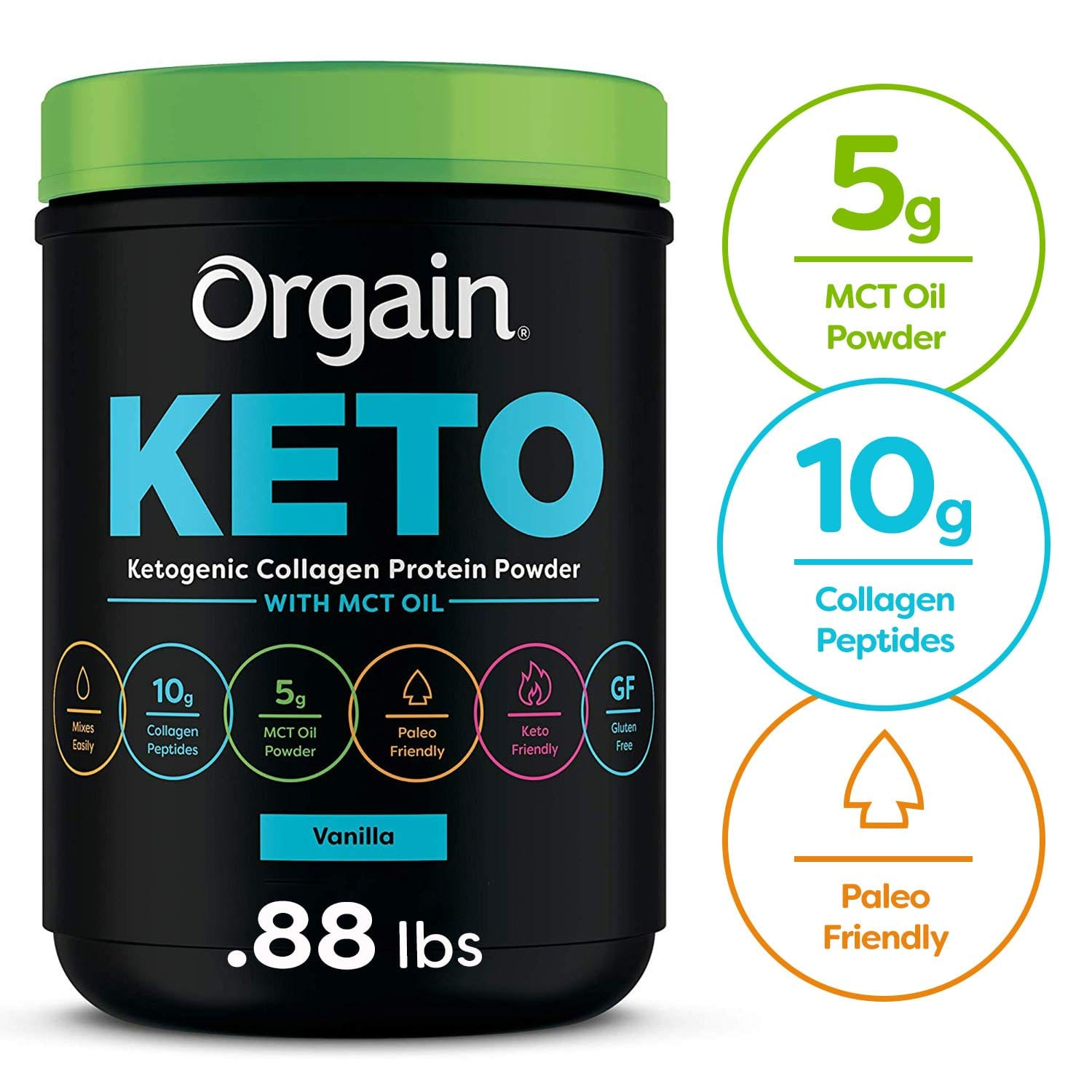 0.88 Lbs. Orgain Keto Collagen Protein Powder with MCT Oil, Vanilla or Chocolate - Keto & Paleo Friendly for $21.49 with Coupon and S&S.