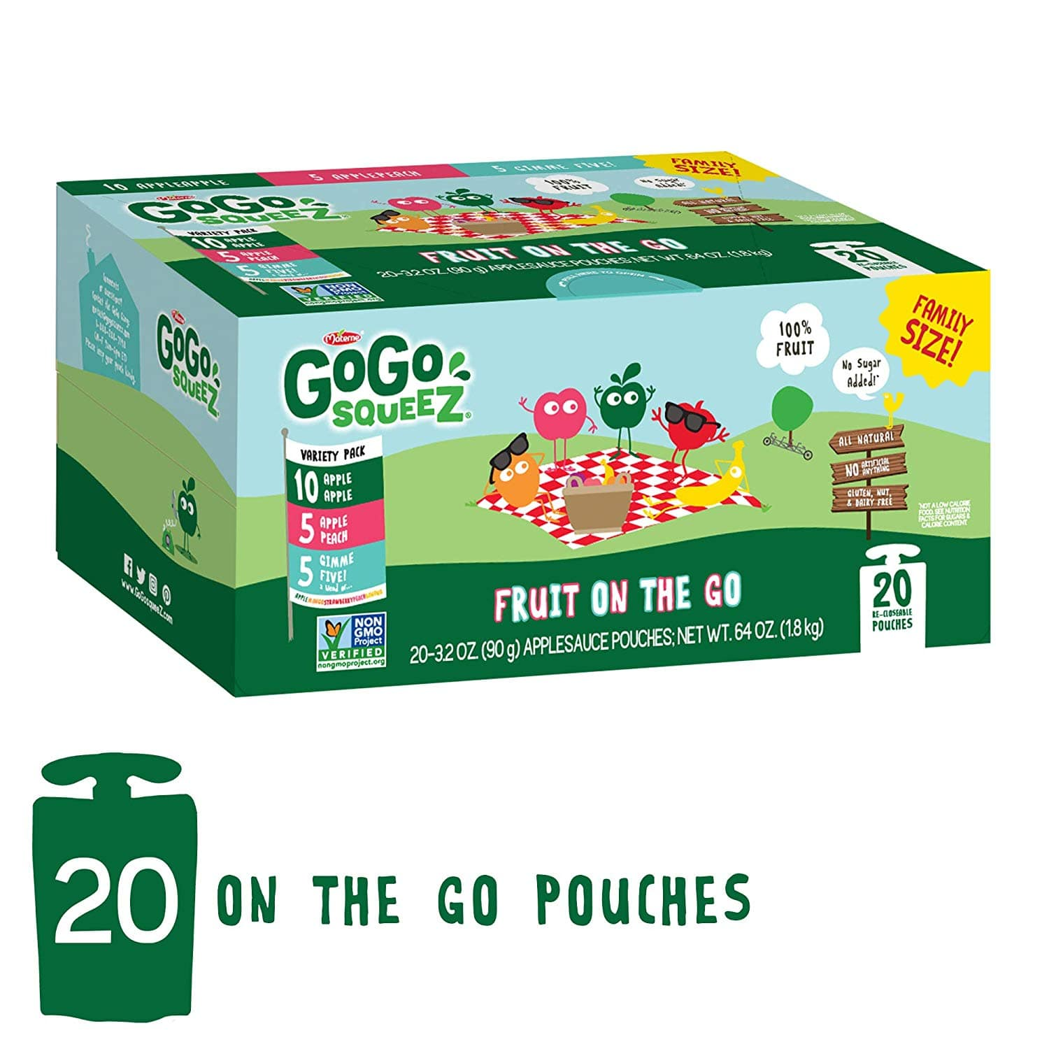 20-Pack 3.2 oz.GoGo squeeZ Applesauce on the Go, Variety Pack Pouches for $8.48 A/C and S&S via Amazon