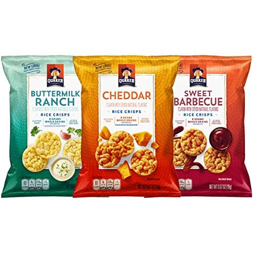 30-Count 0.67 oz. Quaker Popped Rice Crisps, 3 Flavor Savory Variety Pack for $8.64 AC and S&S