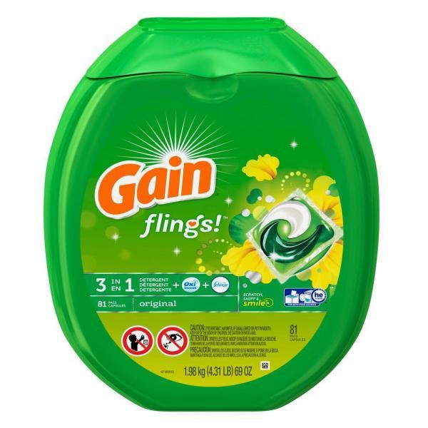 81-Count Gain Flings Laundry Detergent Pacs (Original)