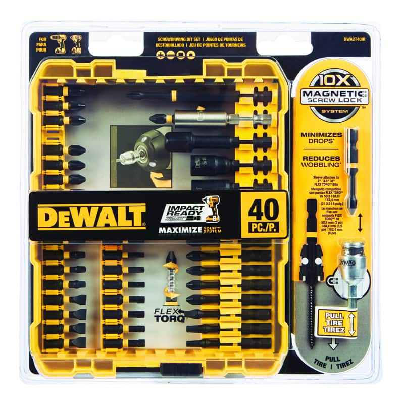 40-Piece DeWalt Impact Ready Multi Size in. x 3/8 in. L Screwdriver Bit Black Oxide for $14.99