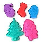 5-piece Christmas Silicone Mold Cake Chocolate Candy Cheesecake Baking Set (2 Santa Claus, 1 Tree, 1 Glove, 1 Boot) for $9.99