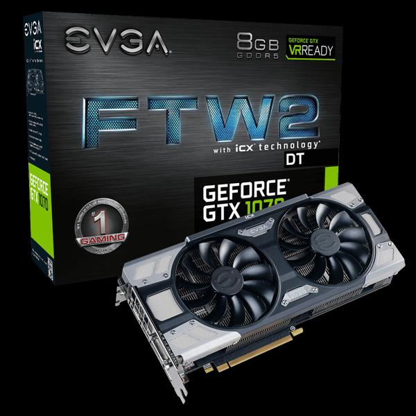 EVGA Geforce GTX 1070 FTW2 DT  $334