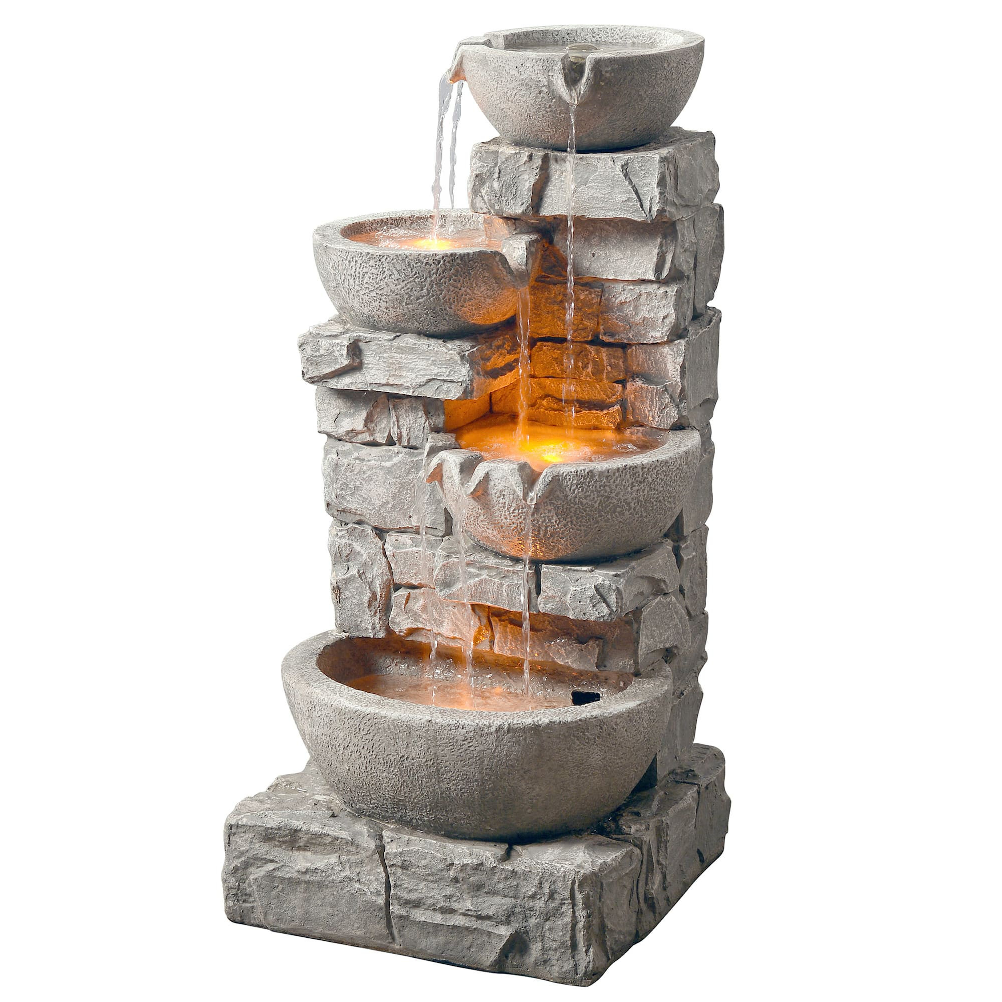 Outdoor Stacked Stone Tiered Bowls Fountain w/ LED Light - $125 FS Walmart.com
