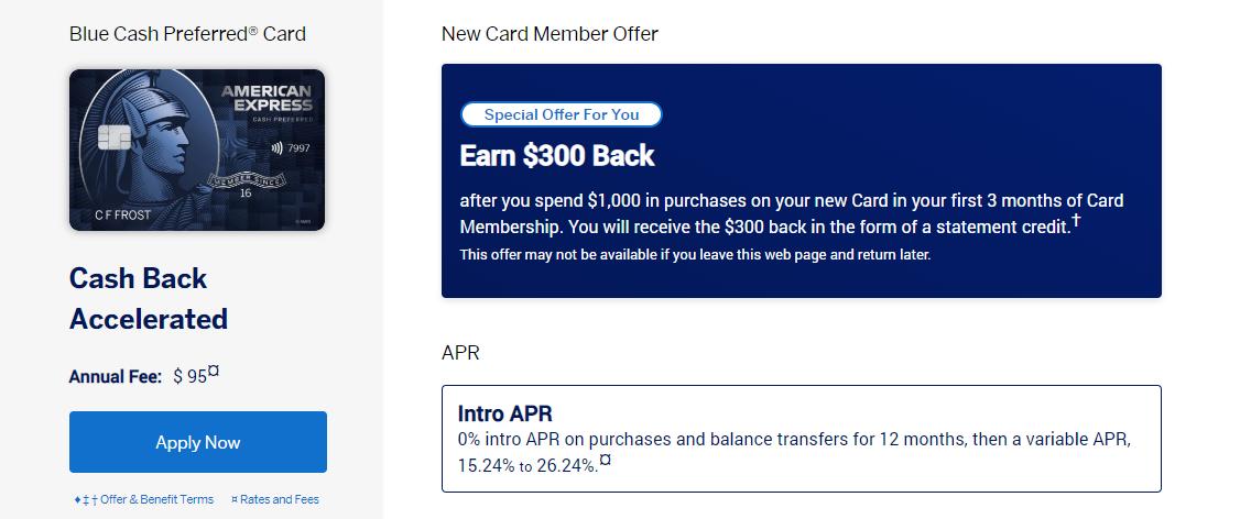 AMEX Blue Cash Preferred credit card $300 bonus