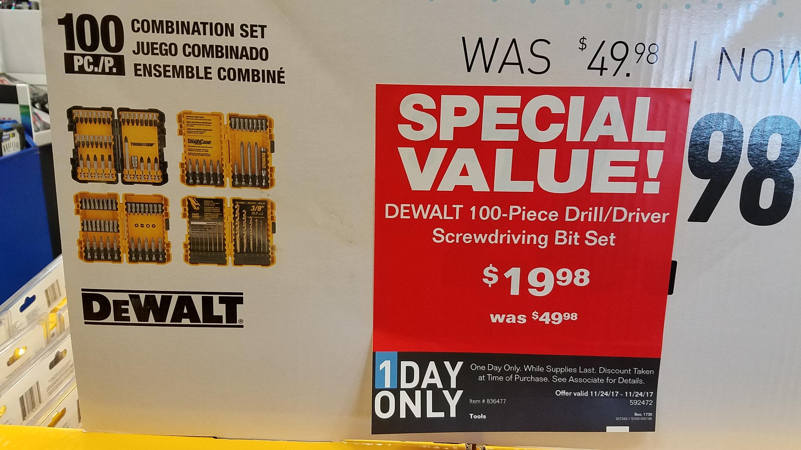 Lowe's In-store - Dewalt 100 piece Drill/Driver set $19.98