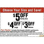 Papa Murphy's Pizza $5 Off Family, $4 off Large and $3 Off Medium