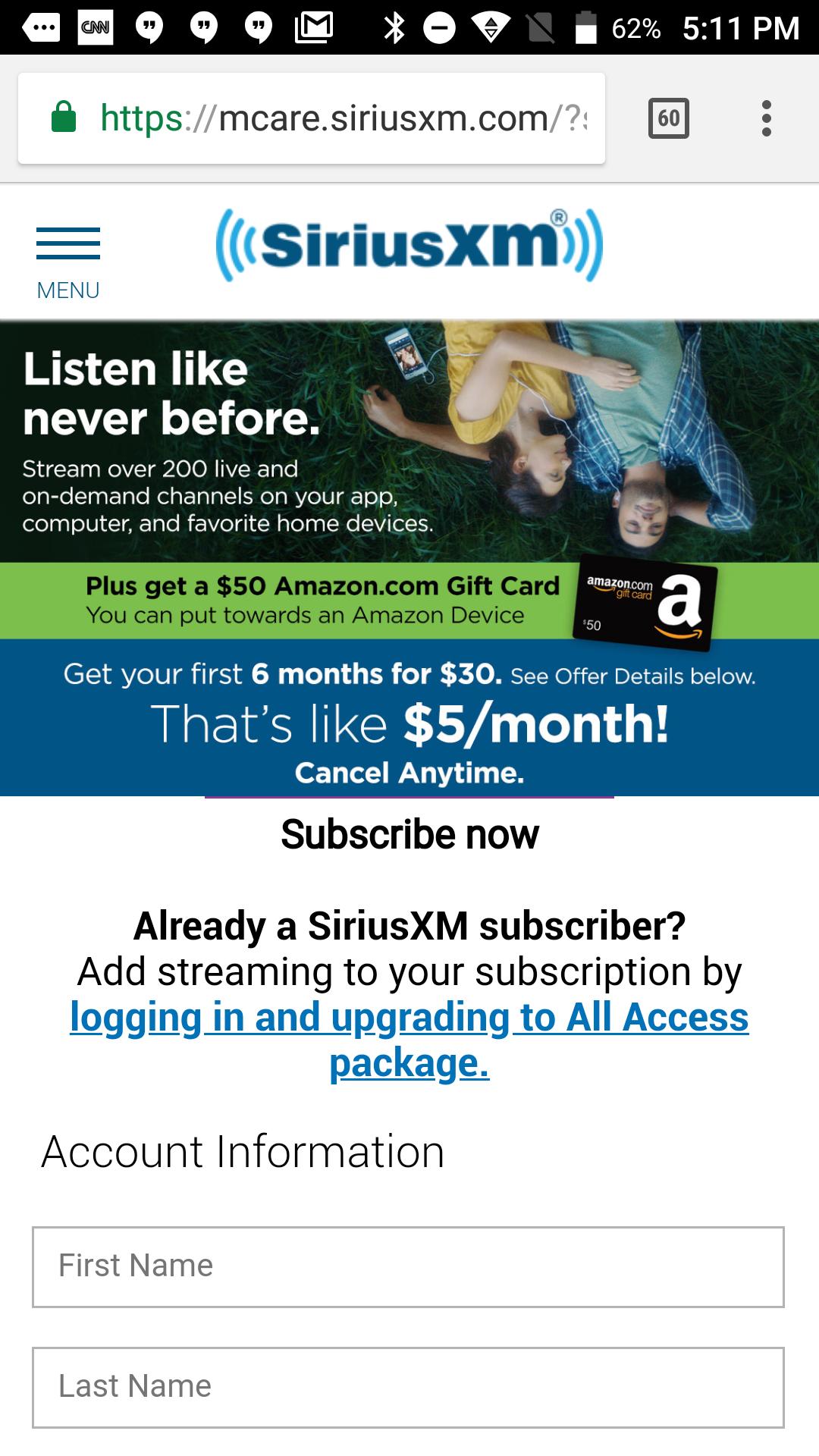 SiriusXM Stream 6-mo $30 + $50 Amazon GC YMMV??
