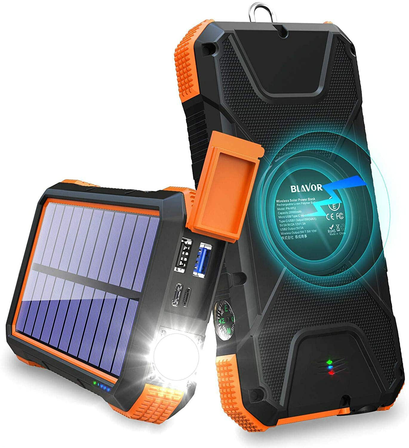 Amazon.com: BLAVOR Solar Charger Power Bank 18W, QC 3.0 Portable Wireless Charger 10W/7.5W/5W with 4 Outputs & Dual Inputs, 20000mAh External Battery Pack IPX5 Waterproof $37