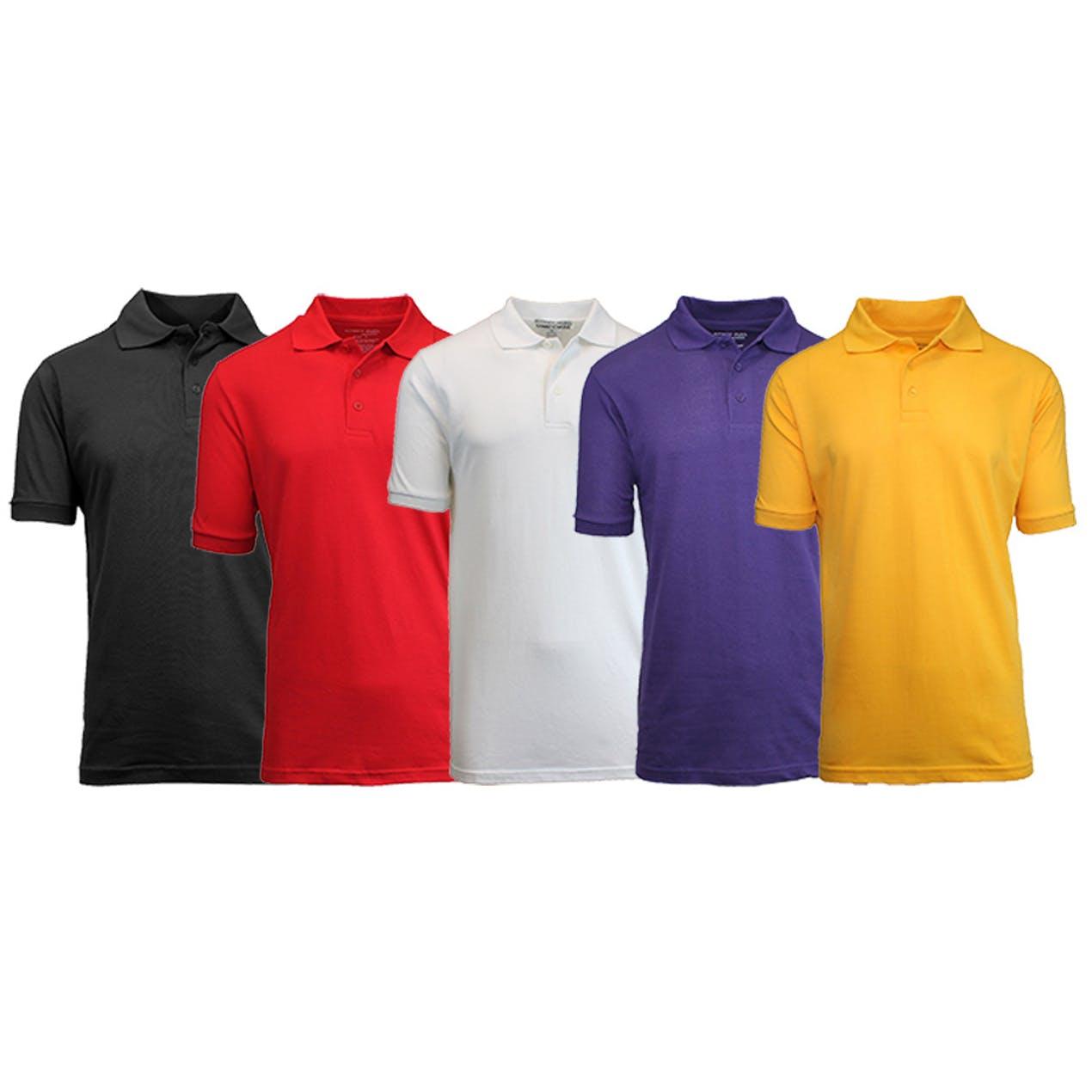 5-Pack Men's Uniform Pique Polo Shirts (S-2X) $34 Free Shipping at Tanga.com $33.99